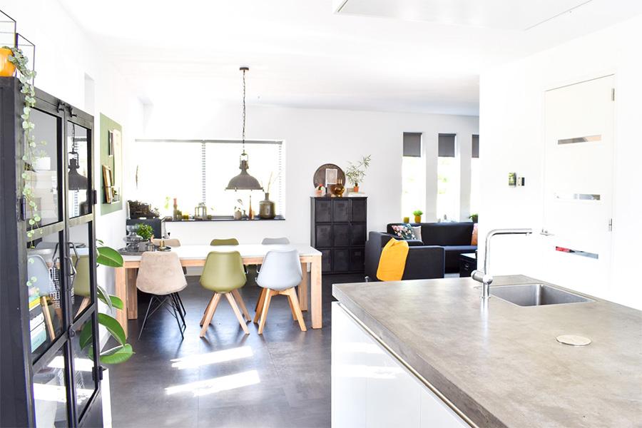 Binnenkijken-Scandinaviach-interieur-Zwart-wit-interieur-groen-wonen-groen-interieur-industrieel-interieur-industriele-woonstijl