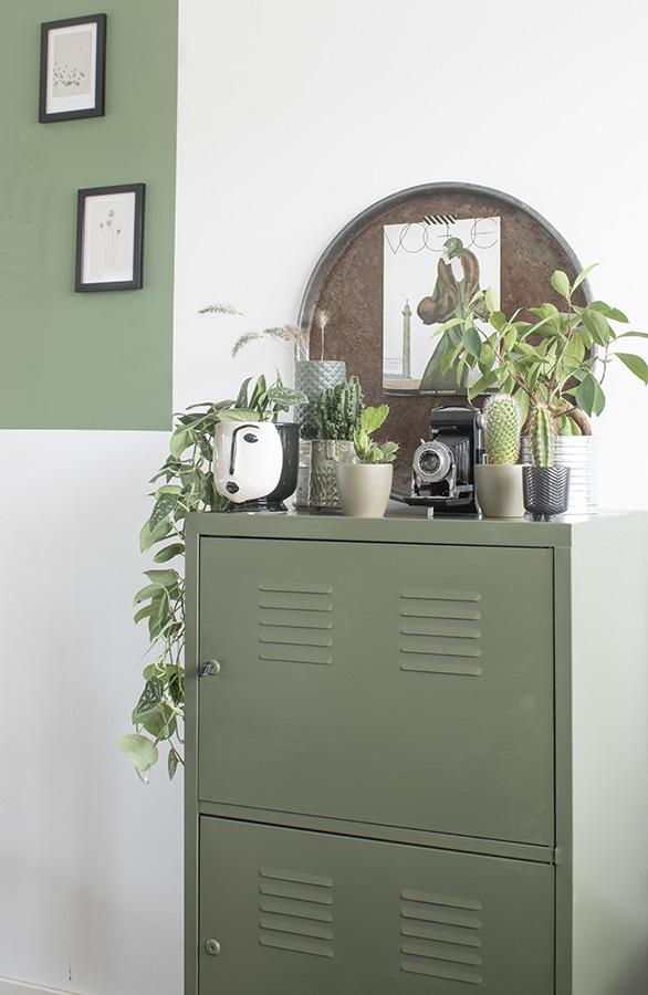 Groene-kast-olijfgroene-kast-groen-kastje-lockerkast-groen-interieur-olijfgroen-interieur-groen-in-huis-botanisch-interieur
