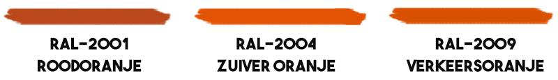 Oranje-RAL-kleuren